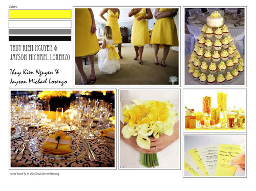 Yellow Gray Black Wedding Mood Board