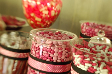 pink and black candy buffet