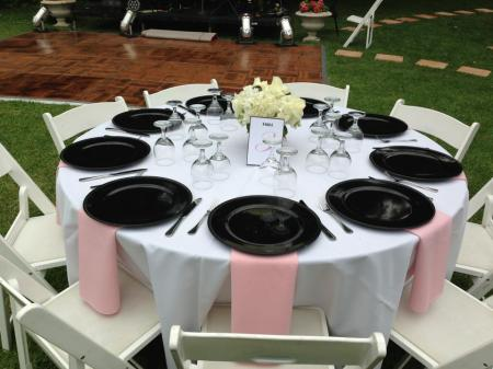 pink, black, white party tablescape, place settings.
