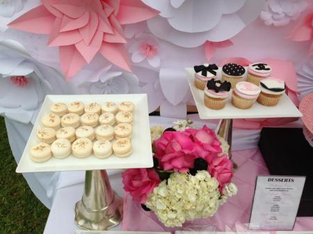 Chanel themed birthday party dessert table
