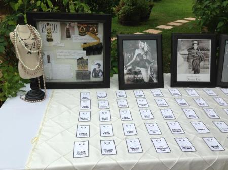 Chanel No 5 style escort cards