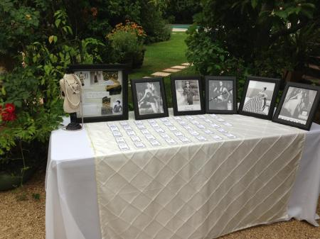 Designer party reception table, escort cards